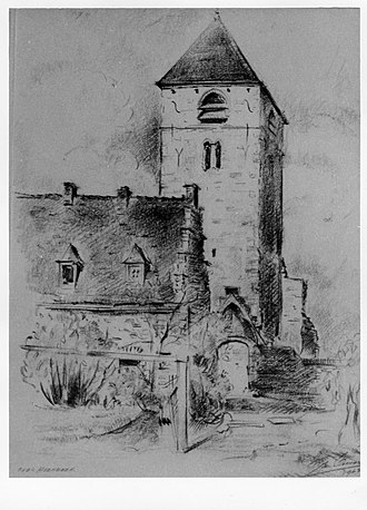 Neder-Over-Heembeek - The Romanesque tower of the Saints Peter and Paul Church in Lower Heembeek and the house where Jan Baptist van Helmont performed an alchemical transmutation. (Drawing by the architect Leon Van Dievoet, 1963.).