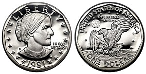 Susan B. Anthony dollar - Image: 1981 S SBA$ Type Two Deep Cameo