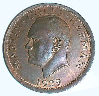 Martin Coles Harman - 1 Puffin coin of 1929, bearing the portrait of Martin Coles Harman