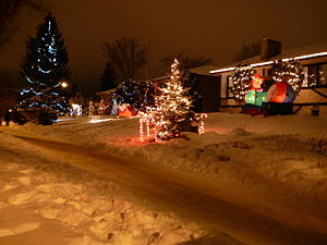 Crestwood, Edmonton - Houses on Candy Cane Lane at Christmas time.