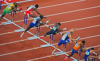 Sprint hurdles at the Olympics - Image: 2008 Summer Olympics Men's 110m Hurdles Semifinal 1