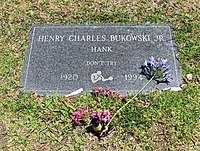 2014-05-13 Henry Charles Bukowski Jr. gravestone, Green Hills, Los Angeles - USA.jpg