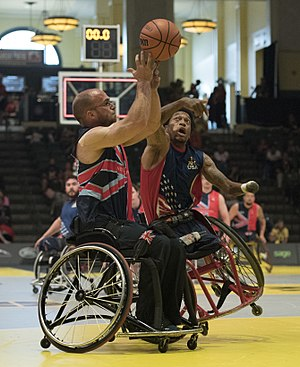 McDaniel looks to steal. Wheelchair basketball at Invictus Games 2016.