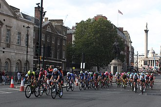 2018 Tour of Britain - Stage 8 in Whitehall, London having just passed Nelson's Column