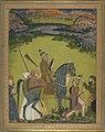 2 The Turkman warrior Atachin Beg Bahadur Qalmaq hawking on horse with attendants. Early 18 cent. Brit Mus.jpg