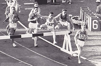 Deacon Jones (athlete) - 3000 m steeplechase final at the 1960 Olympics. Jones is on the left.