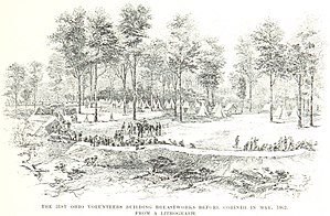 31st Ohio Infantry - Soldiers of the 31st Ohio prepare breastworks at the Siege of Corinth
