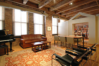 Loft - A former warehouse for printing presses converted to a loft apartment on Chicago's Near West Side