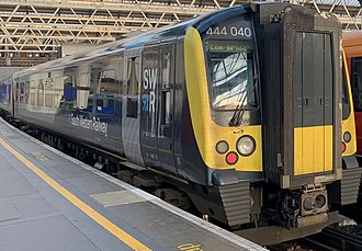 South Western Railway (train operating company) - Image: 444040 in SWR livery at Waterloo