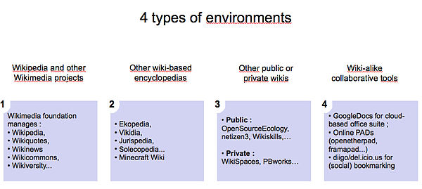 Figure 4 : 4 types of wiki alike environments as defined in the WikiSkills project