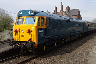 British Rail Class 50 - Class pioneer 50050 Fearless at Hardingham in April 2016