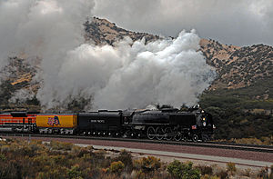 Union Pacific 844 -  Union Pacific 844 traveling through Cajon Pass in November 2011.