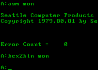 86-DOS - Image: 86 DOS running assembler and HEX2BIN (screenshot)