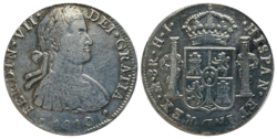 Silver coin: 8 reales New Spain with a portrait of King Fernando VII, 1810[3] (Source: Wikimedia)