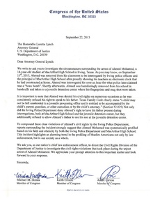 letter from 29 members of the congress to us attorney general loretta lynch requesting a full investigation into the arrest of ahmed mohamed