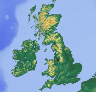 A535 road - Location area of the A535 in the United Kingdom (marked red)