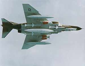 Aircraft fuel tanks - F-4E Phantom carrying two underwing pylon tanks and a centreline tank