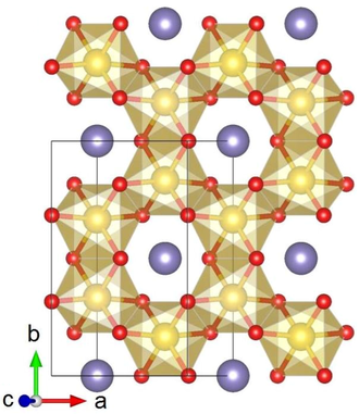 Lithium iridate - Crystal structure of α-Li2IrO3 with Ir shown in yellow, Li in purple and O in red