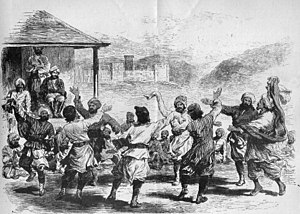 Trakhàn dynasty - A Dance at Gilgit by G. W. Leitner, 1893