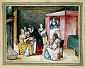 A Dutch birth-room, with a maid giving sweetmeats to gossips. Wellcome L0019348.jpg