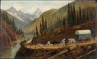Covered wagon - A Prairie Schooner on the Cariboo Road or in the vicinity of Rogers Pass, Selkirk Mountains, c. 1887, by Edward Roper (1833-1909).