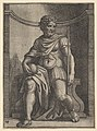A Roman emperor sitting in a niche holding a globe and sceptre and looking to his left MET DP822187.jpg