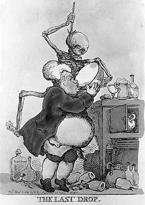 A man drinking himself to death; represented by a skeletal d Wellcome L0014207.jpg