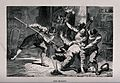 A man is held down and stabbed by soldiers with a halberd an Wellcome V0041541.jpg