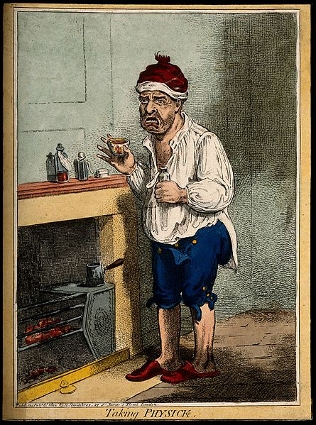 File:A man standing by a fire place, pulling a peculiar face afte Wellcome V0011208.jpg