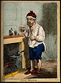A man standing by a fire place, pulling a peculiar face afte Wellcome V0011208.jpg