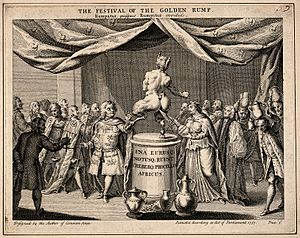 The Golden Rump - 'The Festival of the Golden Rump'. George II is presented as the satyric figure in the centre. On his left and right are Robert Walpole and Queen Caroline, respectively. On the far left is Horatio Walpole, the PM's brother and the 'Balance-Master of Europe'. The attending peers adorned with golden rumps, as are the overhanging curtains.
