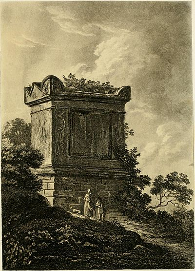 An 1815 illustration of the alleged tomb of Nero; actually tomb of proconsul Caius Vibius Marianus. A select collection of views and ruins in Rome and its vicinity - recently executed from drawings made upon the spot (1815) (14592716650).jpg