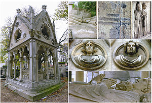 Composite image of the tomb of Abélard et Héloïse and various details