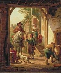 Horseman Resting near a Village Inn