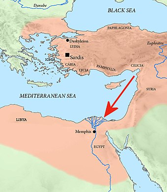 Achaemenid campaign of Pharnabazus II against Egypt in 373 BC. Achaemenid campaign against Egypt 373 BCE.jpg