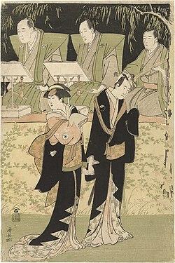 Acteurs Sawamura Sojuro III en Iwai Hanshiro IV als Jihei en Koharu-Rijksmuseum RP-P-1980-1.jpeg