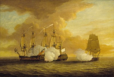 The battle with HMS Lion forced Elizabeth to return to port with most of the weapons and volunteers Action between HMS Lion and Elizabeth and the Du Teillay, 9 July 1745 RMG BHC0364.tiff