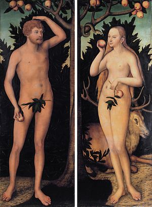 Lucas Cranach the Younger - Image: Adam and Eve, by Lucas Cranach the younger