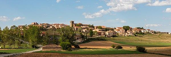 Panoramic view of the municipality of Adobes, province of Guadalajara, Castile-La Mancha, Spain.
