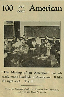 Advertisement for 1920 silent film The Making of an American.jpg