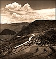 Aerial View Of Terraced Fields & Roadway With A Military Vehicle In A Mountainous Region Of The Kiangsu Province Or Yunnan Province In China (1946) Arthur Rothstein (RESTORED) (4165081611).jpg