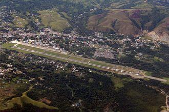 Sentani International Airport - Image: Aerial view of Sentani Airport 20130412
