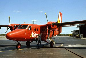 Victoria STOLport - One of the six Airtransit DHC-6 Twin Otter refuelling at Ottawa Rockcliffe Airport in 1975