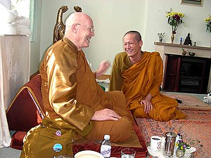 Ajahn Sumedho - Pictured (left) with a visiting Thai monk (Phra Root Chumdermpadetsuk)