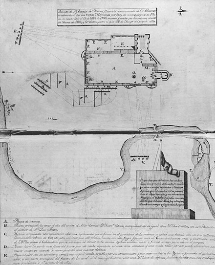 This plan of the Alamo was created by Jose Juan Sanchez Navarro in 1836. Places marked R and V denote Mexican cannon; position S indicates Cos's forces. AlamoplanF0385.jpg
