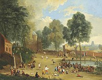 Alexander van Bredael - A village landscape with figures playing ball games.jpg