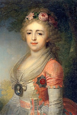 Grand Duchess Alexandra Pavlovna of Russia - Portrait by Vladimir Borovikovsky, 1796. Oil on canvas from the Gatchina Palace Museum, St Petersburg, Russia.