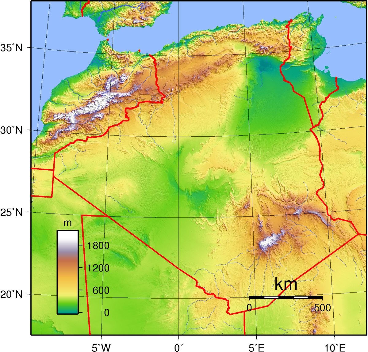 Geography Of Algeria Wikipedia - Map of egypt elevation