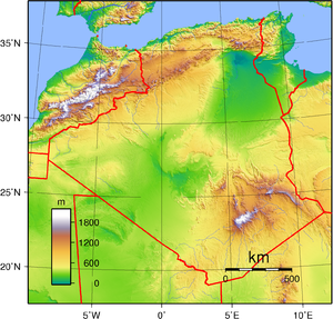 Topographic map of Algeria