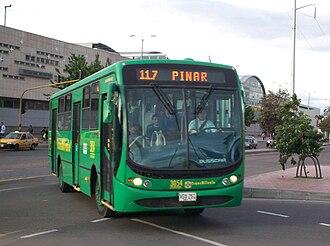 Portal de Suba (TransMilenio) - Feeder bus entering the Portal of Suba.